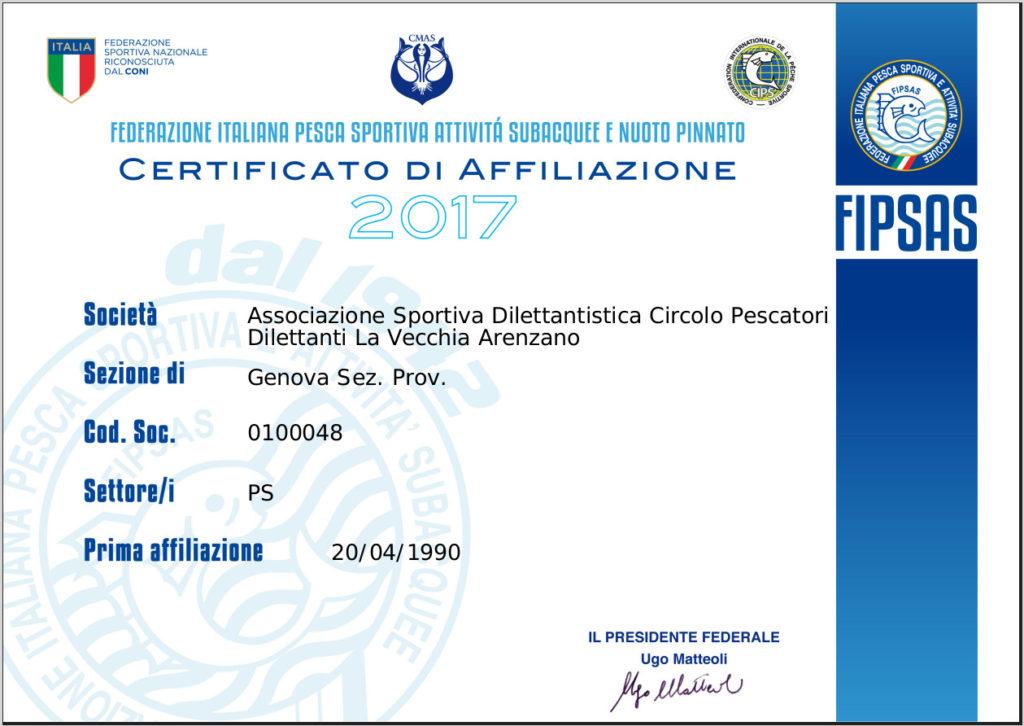Certificato affiliazione Fipsas 2017