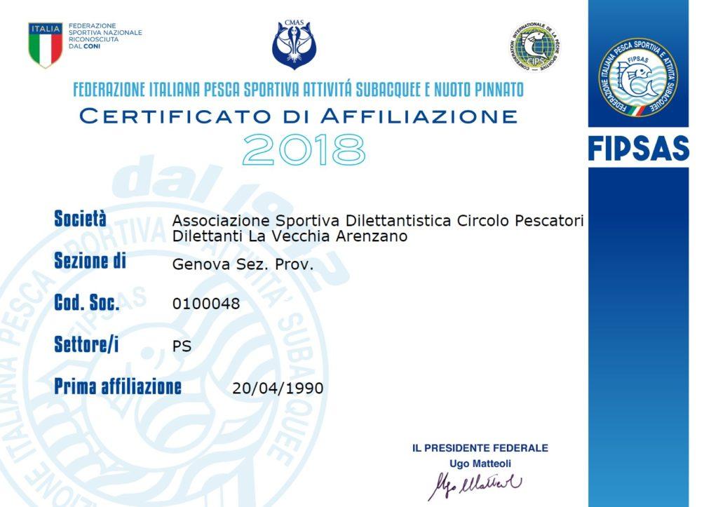Certificato affiliazione Fipsas 2018